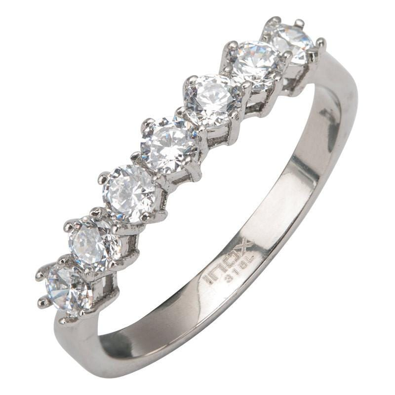 Silver Stainless Steel CZ Row Cluster Anniversary Band Rings