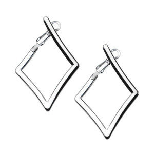 Silver Stainless Steel Diamond Cut Out Hoops Earrings