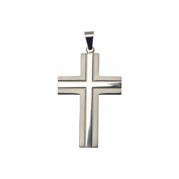 Silver Stainless Steel Double Design Cross Pendant Pendants