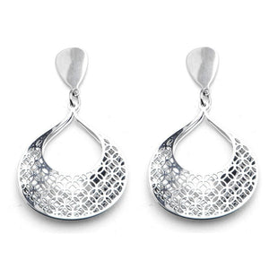 Silver Stainless Steel Double-Filigree Leaf Earrings Earrings