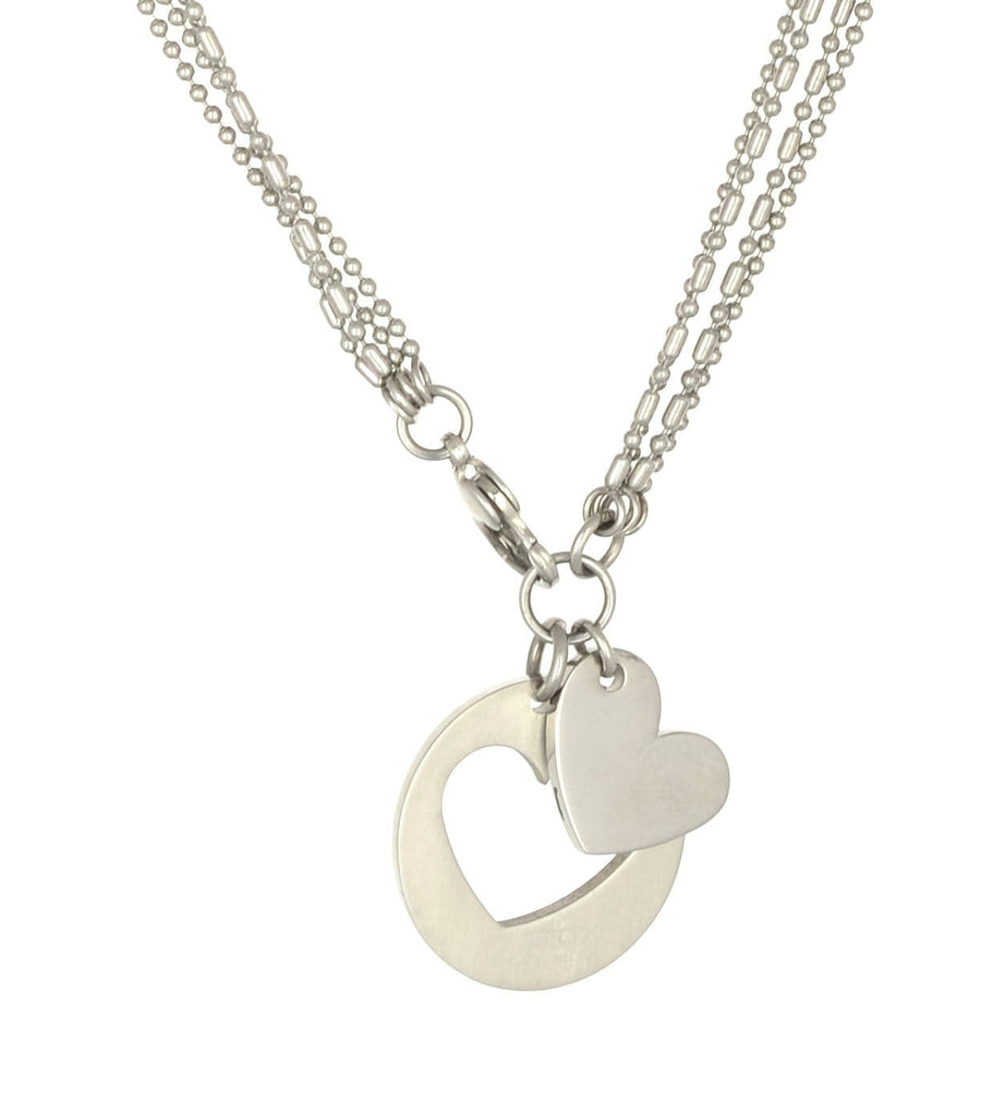 Silver Stainless Steel Double Heart Pendant Necklace Chains