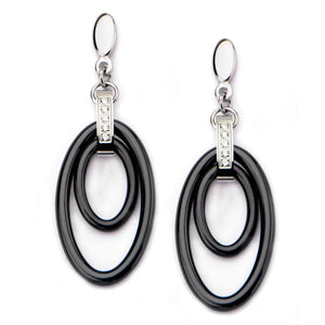 Silver Stainless Steel Double Oval Black Ceramic with White CZ Earrings Earrings