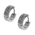 Silver Stainless Steel Double Row White Round CZ Huggies Earrings