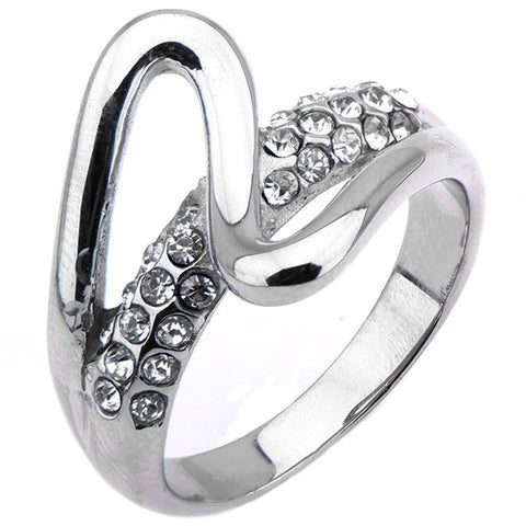 Silver Stainless Steel Elegant Brush Stroke & White Crystal Ring Rings