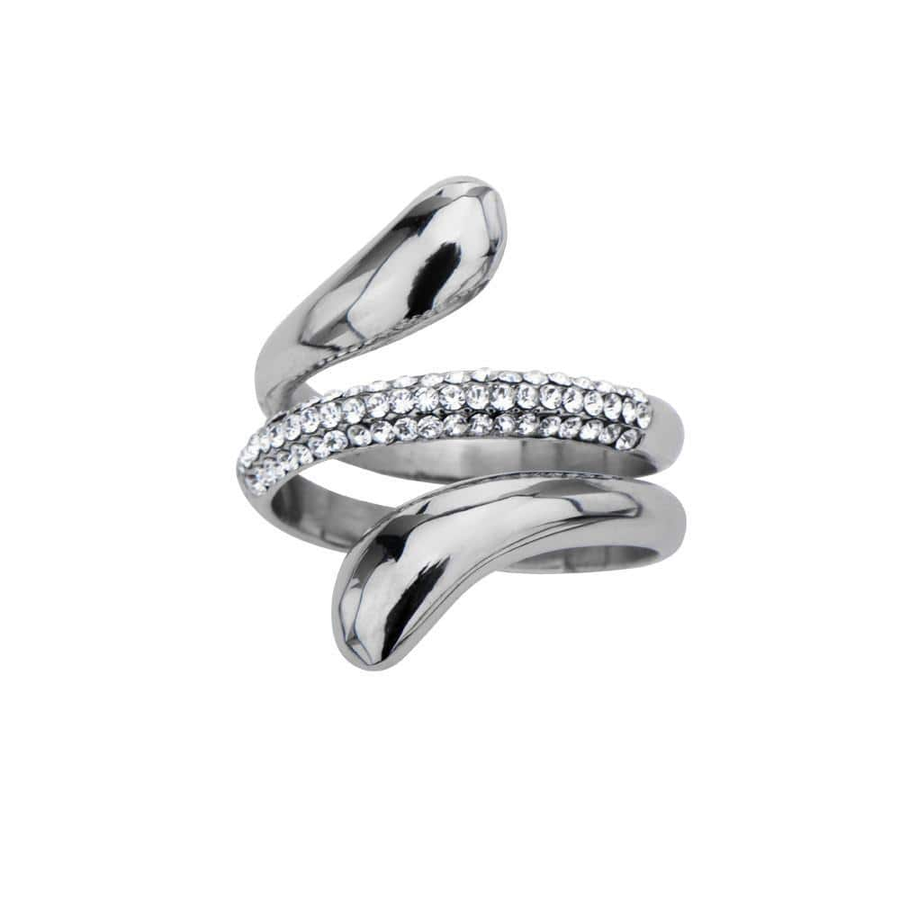 Silver Stainless Steel Elegant Wrap Ring with White Crystals Rings