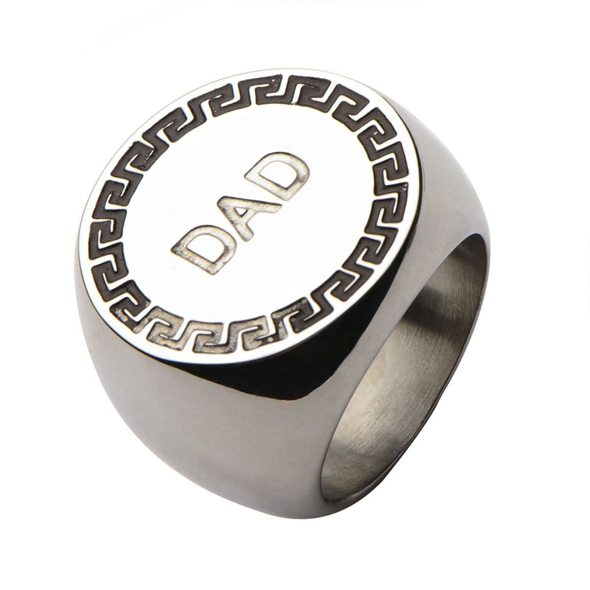 Silver Stainless Steel Engraved DAD Round Greek Key Ring Rings