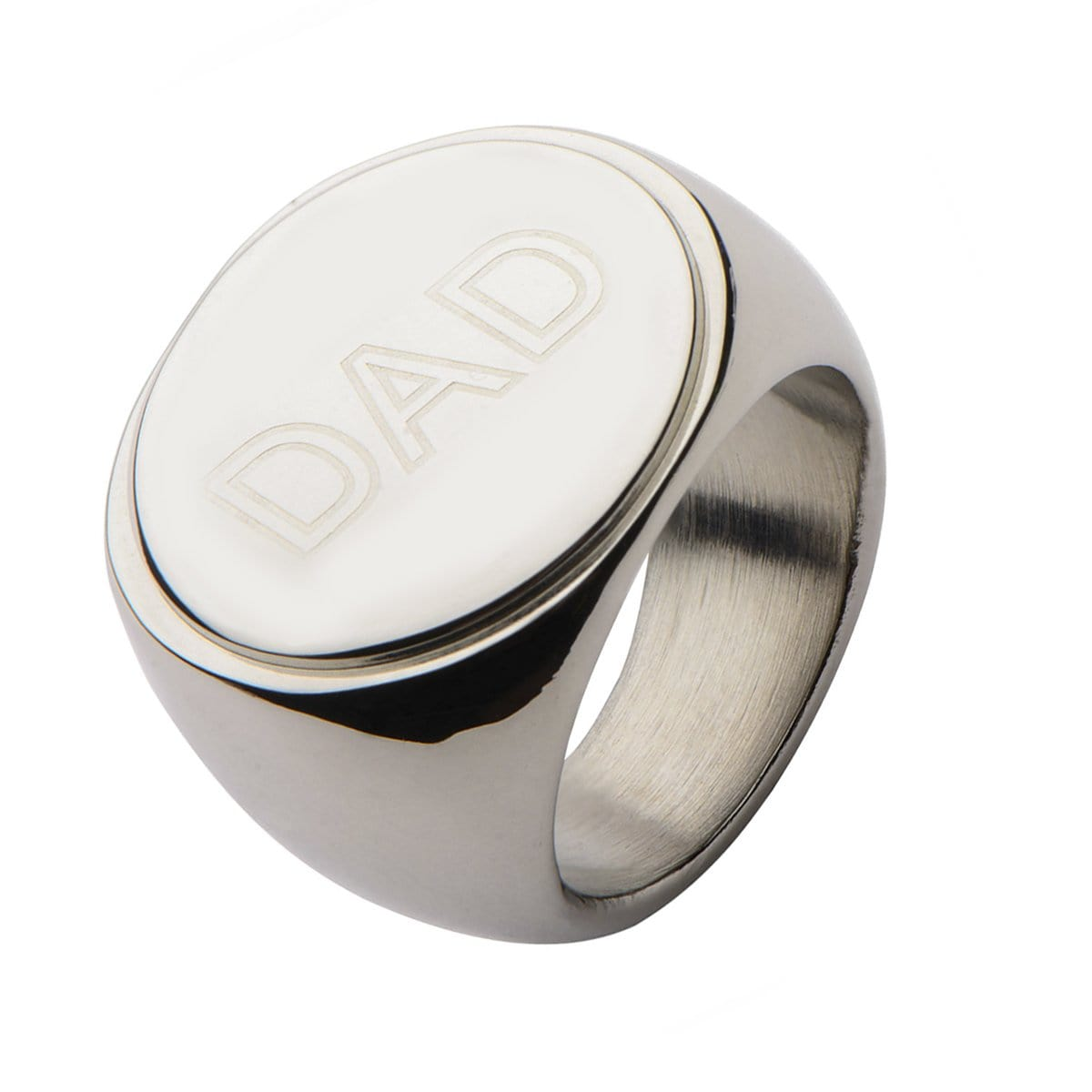 Silver Stainless Steel Engraved Round Statement DAD Ring Rings