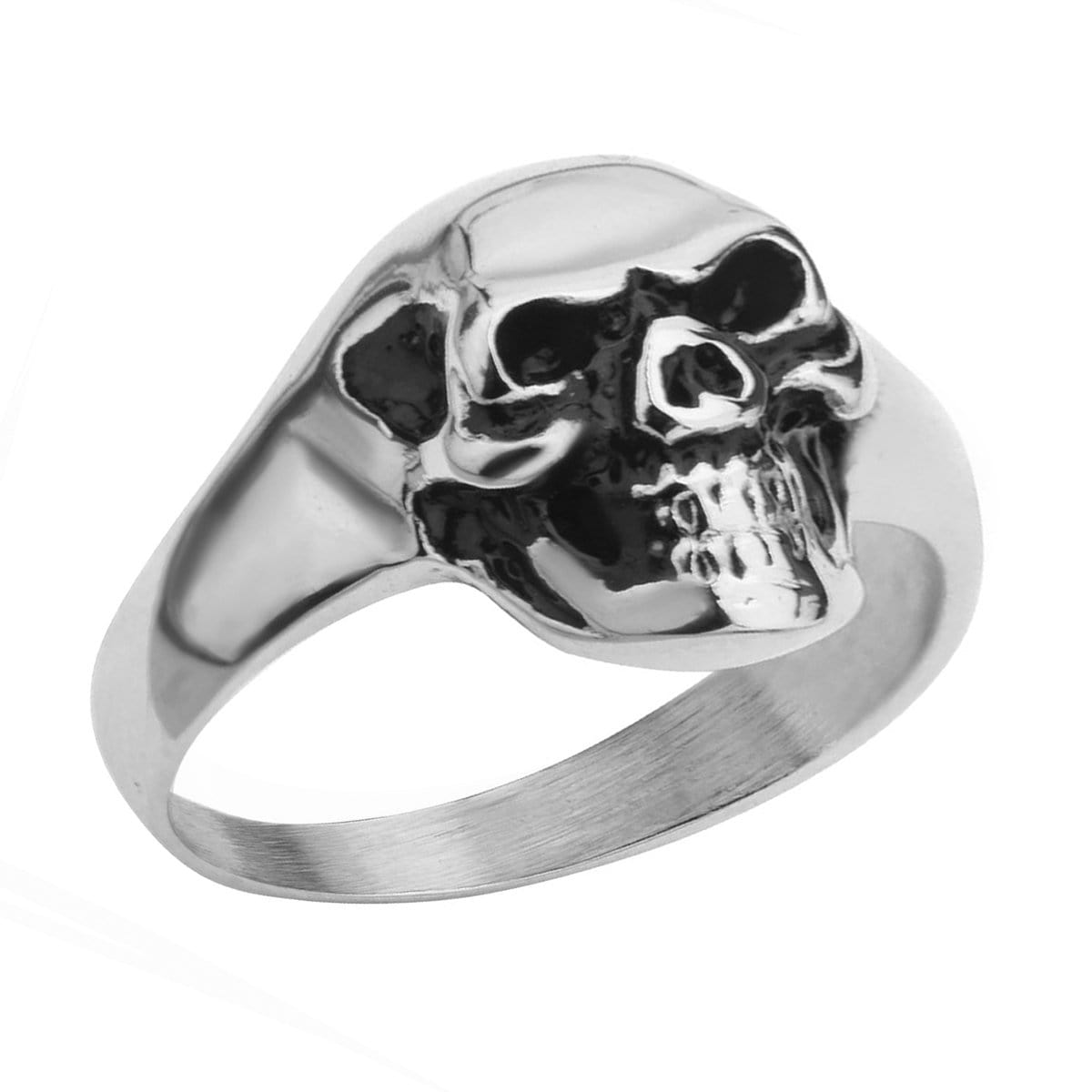 Silver Stainless Steel Evil Laughing Skull Ring
