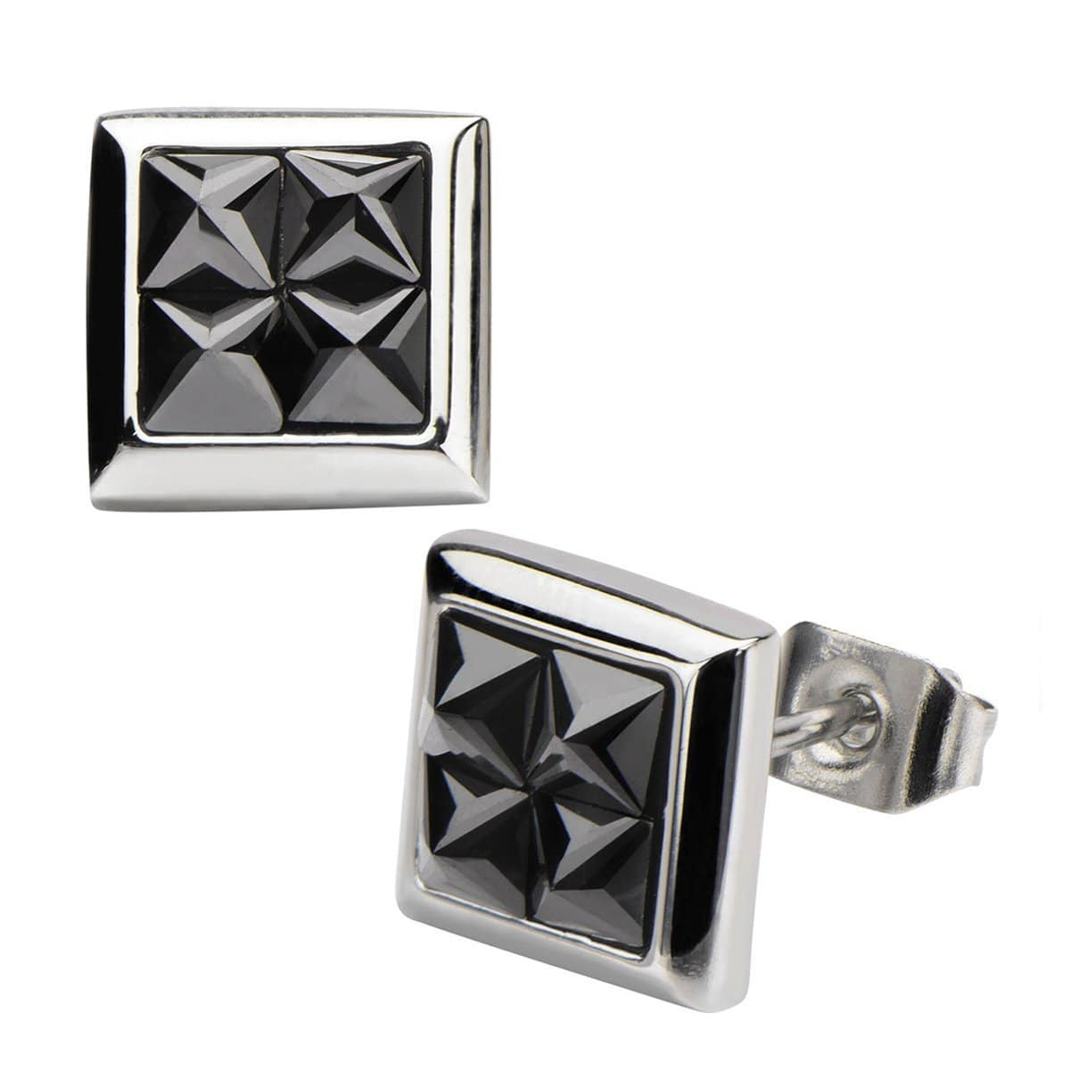 Silver Stainless Steel Four Black Pyramid Crystals Square Studs Earrings
