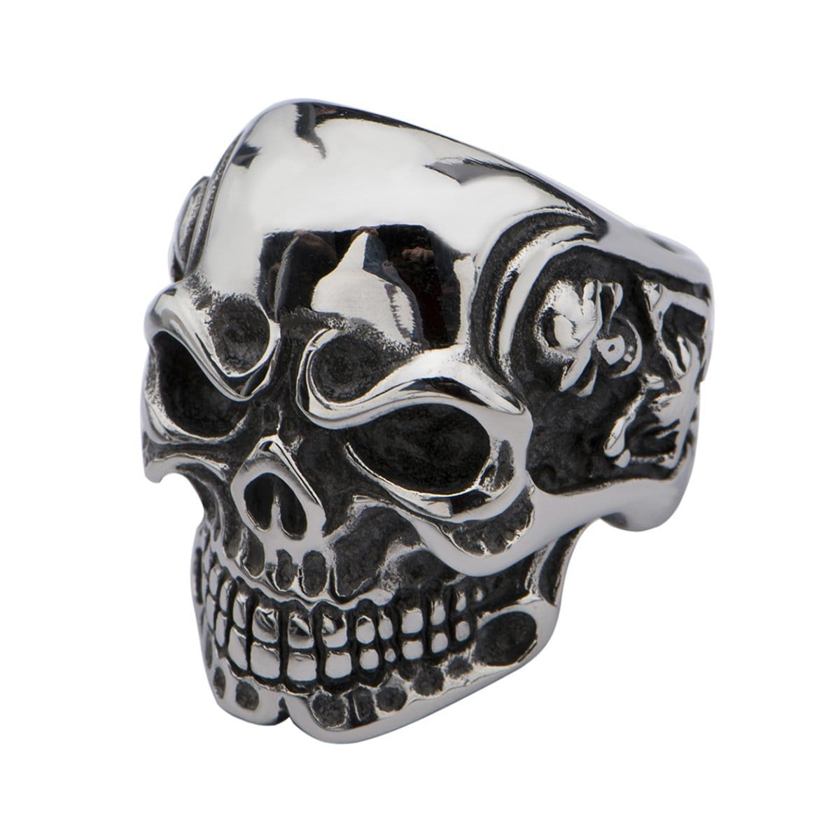 Silver Stainless Steel Frowning Skull Ring Rings
