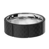 Silver Stainless Steel Full Black Solid Carbon Fiber Ridge Band Ring