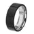 Silver Stainless Steel Full Black Solid Carbon Fiber Ridge Band Rings