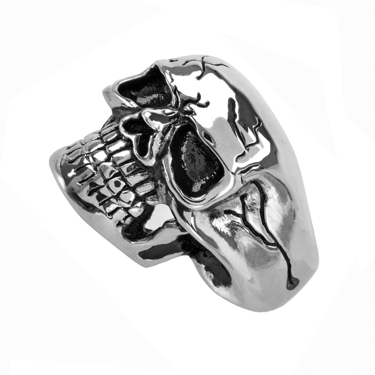 Silver Stainless Steel Grinning Cracked Skull Ring - Inox Jewelry India