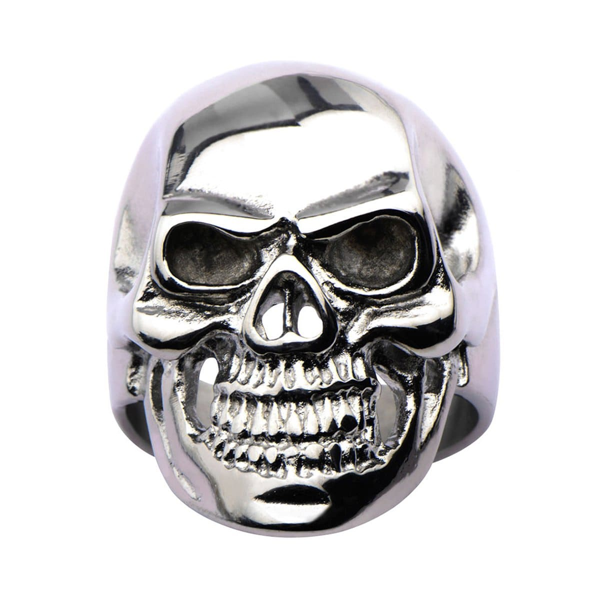 Silver Stainless Steel Grinning Skull Ring - Inox Jewelry India