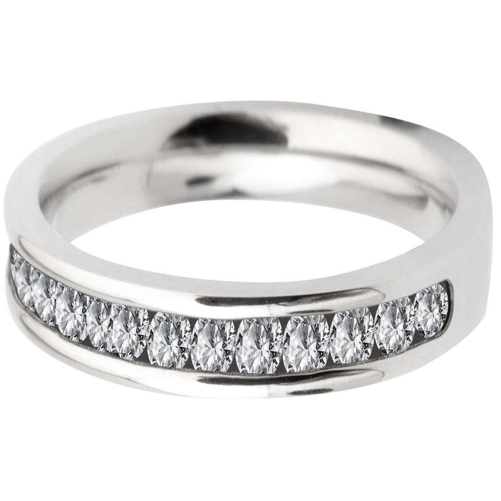 Silver Stainless Steel Half Eternity Channel-Set Round CZ Band Rings