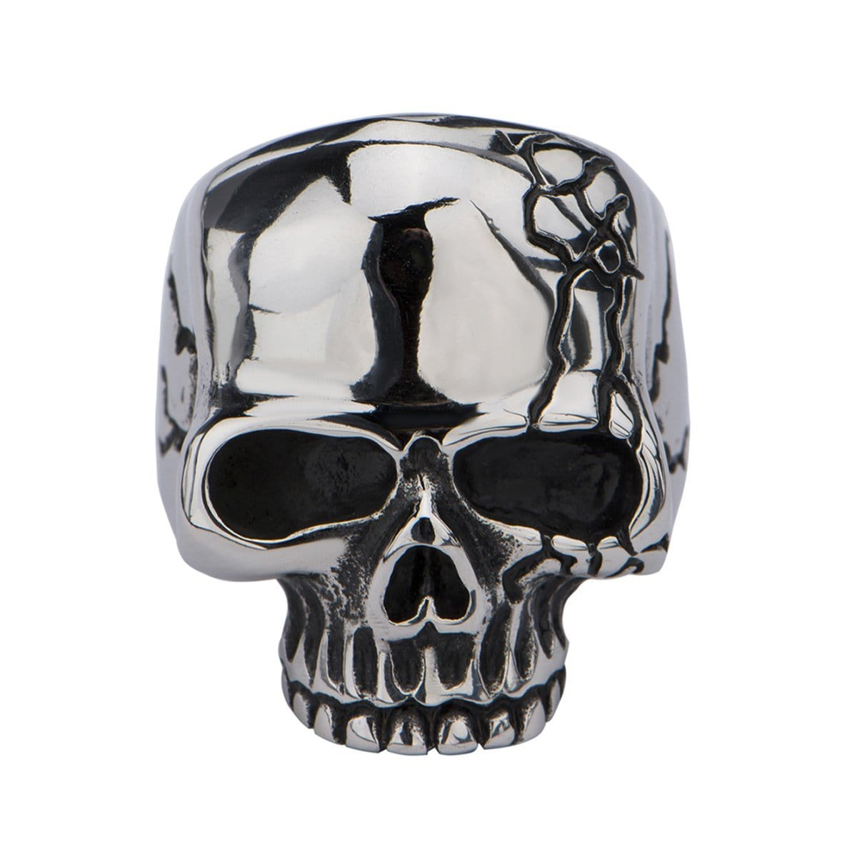 Silver Stainless Steel Hallowed Jaw Cracked Skull Ring
