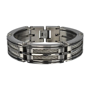 Silver Stainless Steel Industrial Two XL Cable Link Bracelet Bracelets