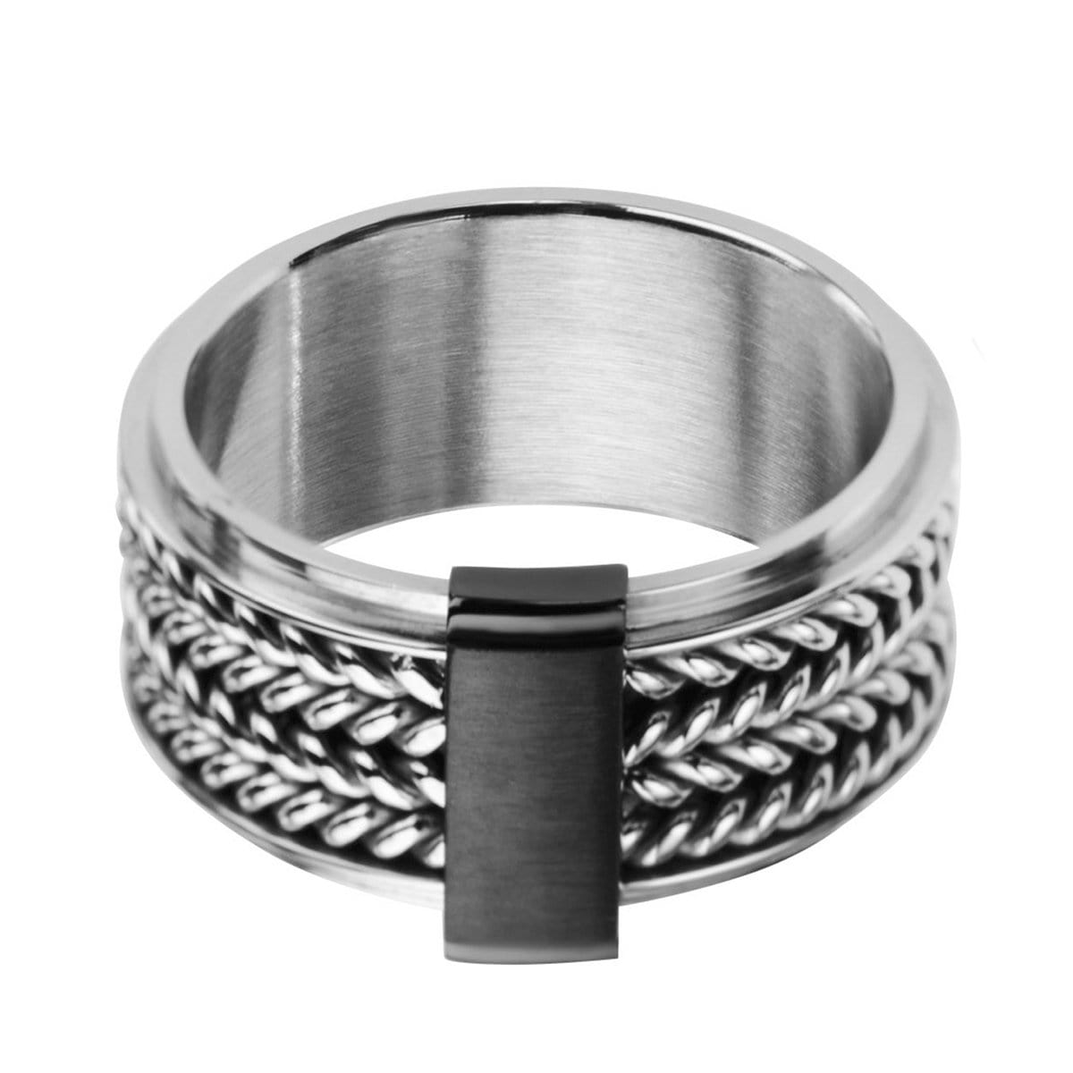 Silver Stainless Steel Inlaid Braid with Black Bar Band Rings