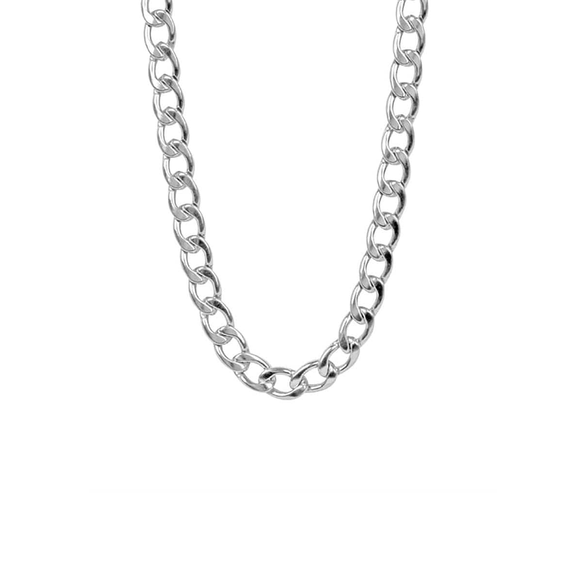 Silver Stainless Steel Large 10mm Round Curb Chain Chains