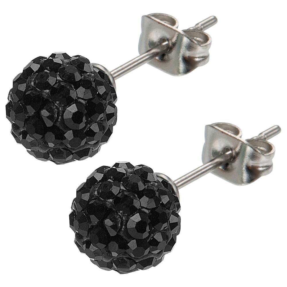 Silver Stainless Steel Large Black Ferido Design Crystal Ball Studs Earrings