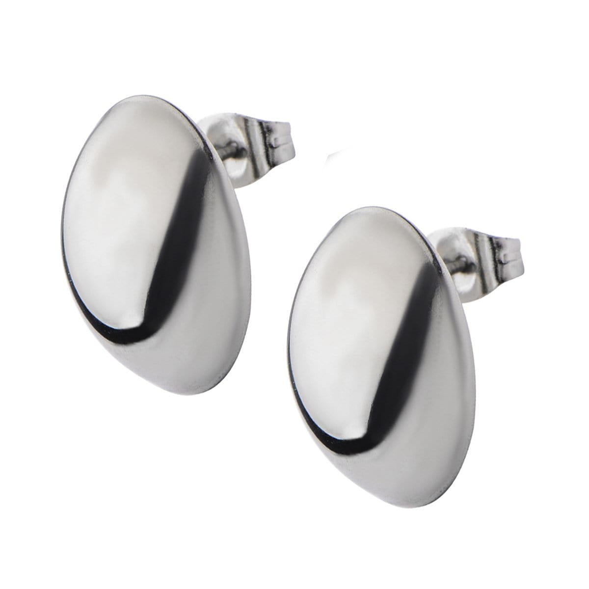 Silver Stainless Steel Large Oval Dome Studs