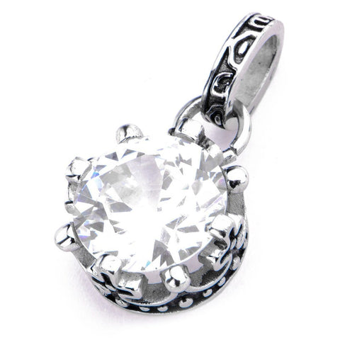 Silver Stainless Steel Large Solitaire CZ Pendant Pendants