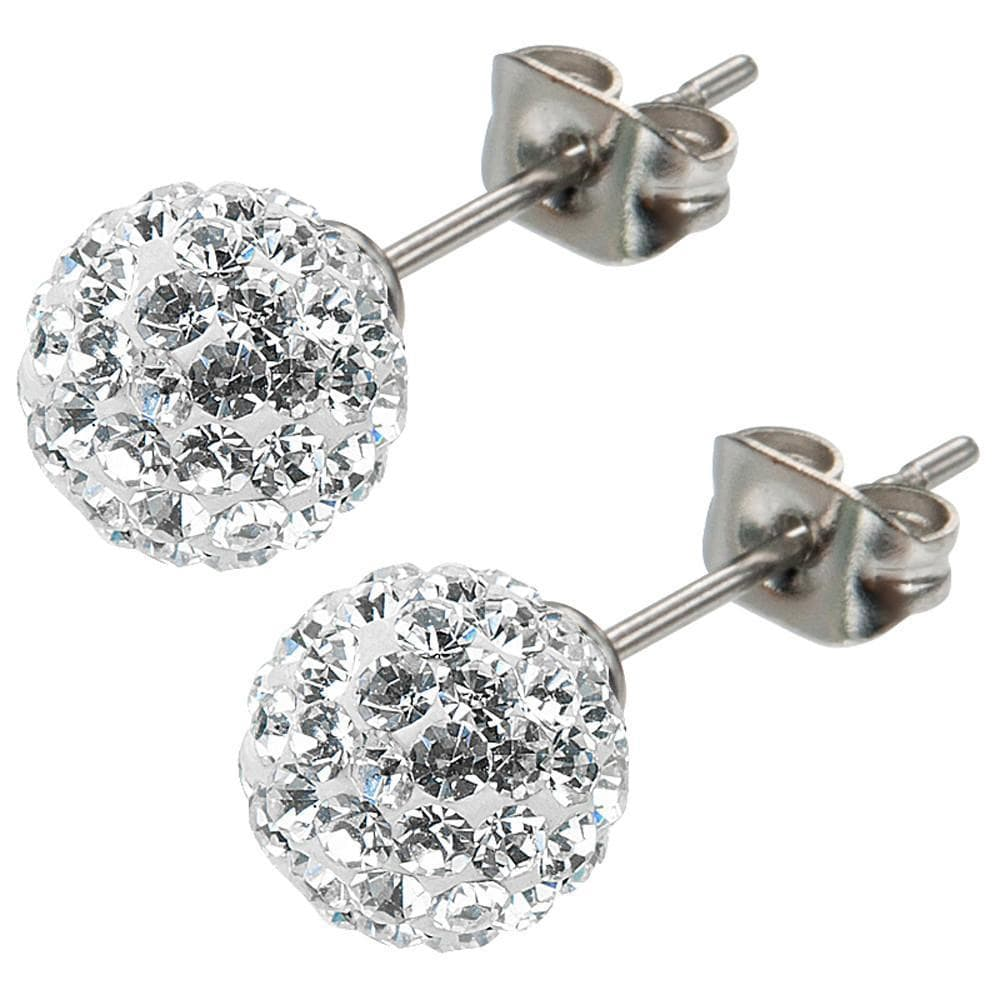 Silver Stainless Steel Large White Ferido Design Crystal Ball Studs Earrings