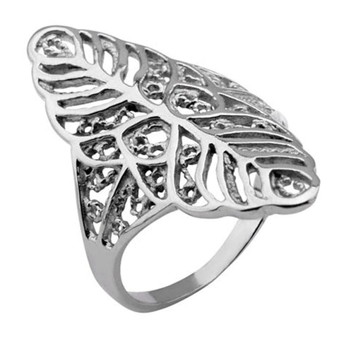 Silver Stainless Steel Leaf Motif Cocktail Ring Rings
