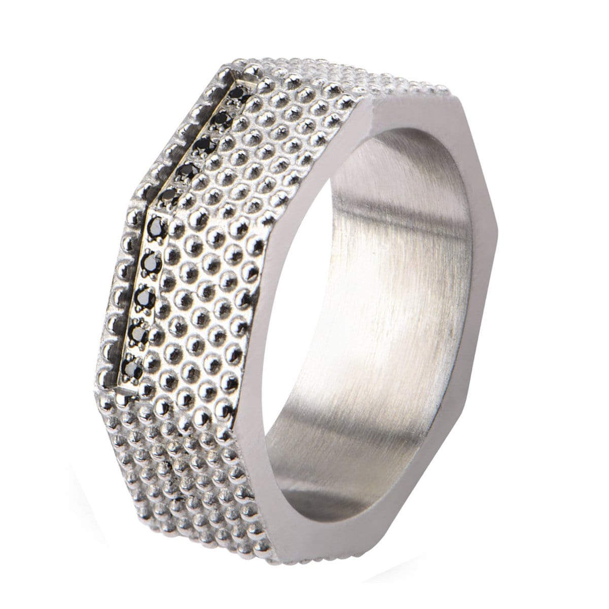 Silver Stainless Steel Matte Finished Black CZ Dotted Ring Rings