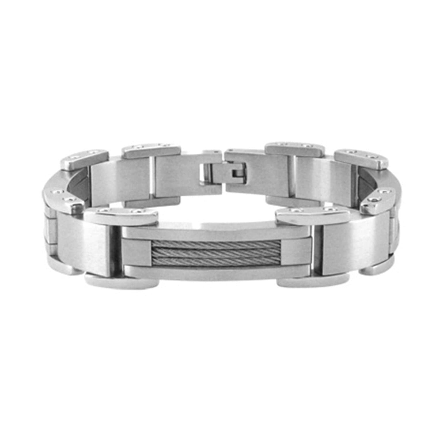 Silver Stainless Steel Matte & Polished Industrial Cable Bracelet - Inox Jewelry India