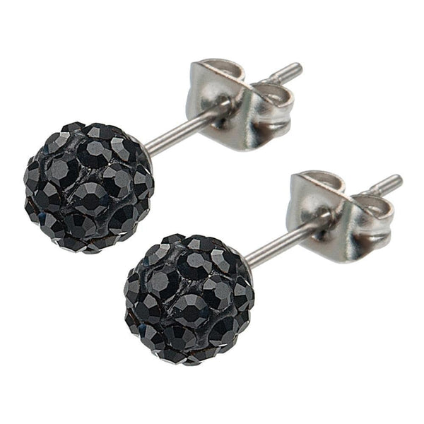 Silver Stainless Steel Medium Black Ferido Design Crystal Ball Studs Earrings