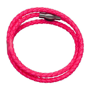 Silver Stainless Steel Neon Pink Super Wrap Leather Bracelet Bracelets