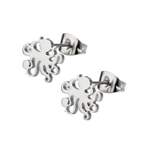 Silver Stainless Steel Octopus Cut-Out Studs Earrings