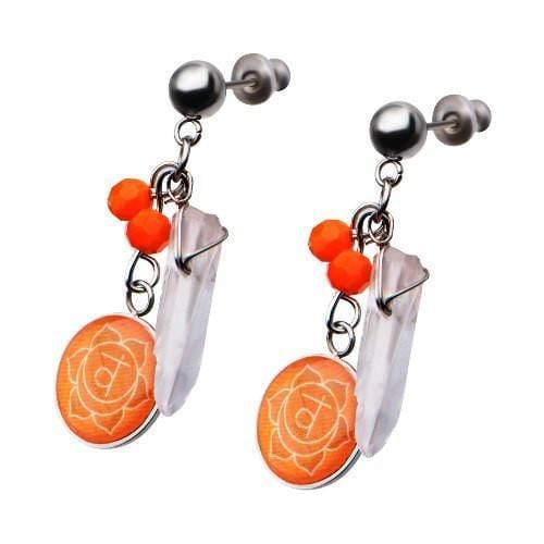 Silver Stainless Steel Orange Quartz Sacral Chakra Earrings Earrings