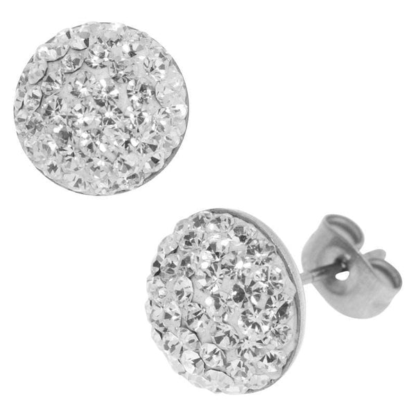 Silver Stainless Steel Pave Set White CZ Round Studs Earrings