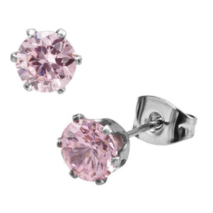 Silver Stainless Steel Pink CZ Round Stud Earrings