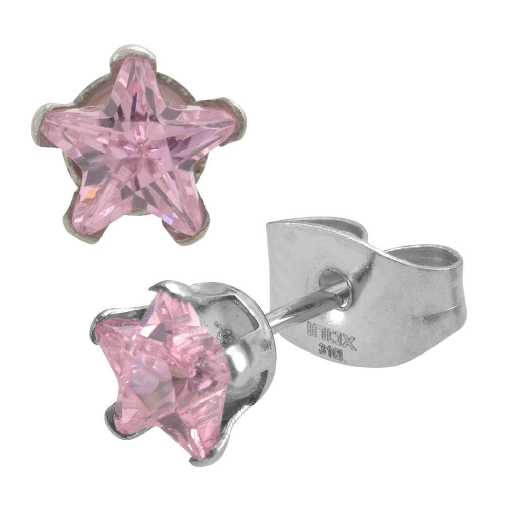 Silver Stainless Steel Pink CZ Star Stud Earrings
