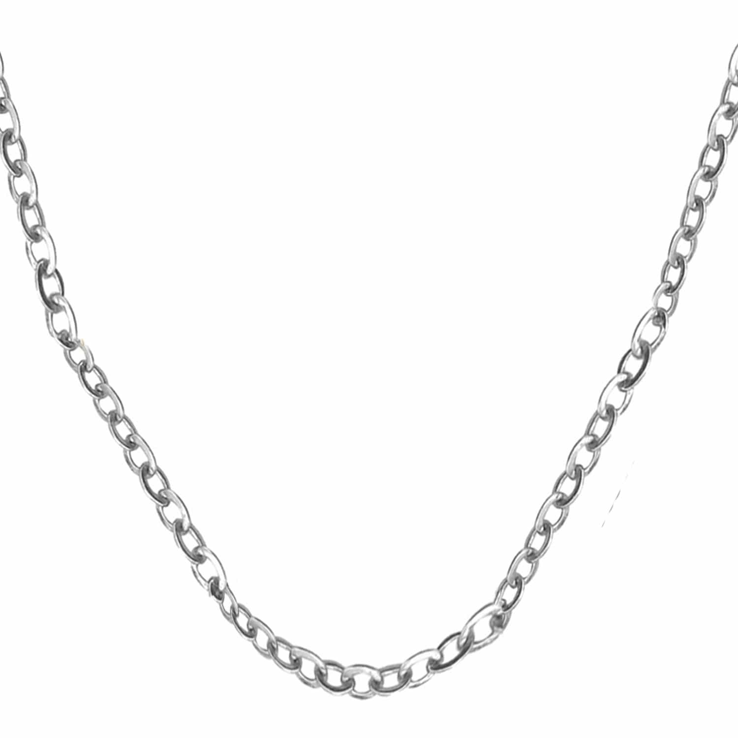 Silver Stainless Steel Polished 2mm Round Cable Chain Chains 16 Inch