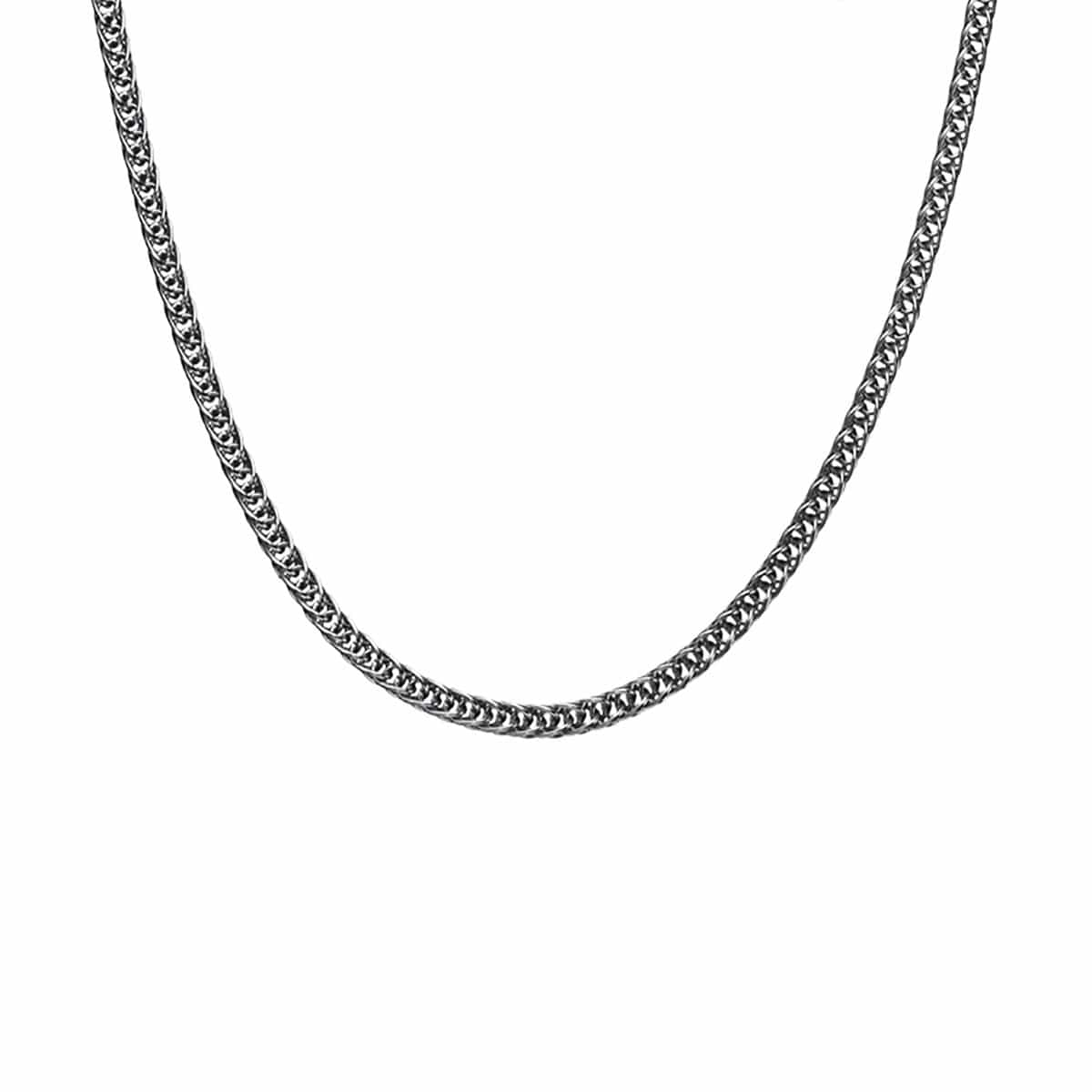Silver Stainless Steel Polished 4 mm Round Wheat Chain Chains