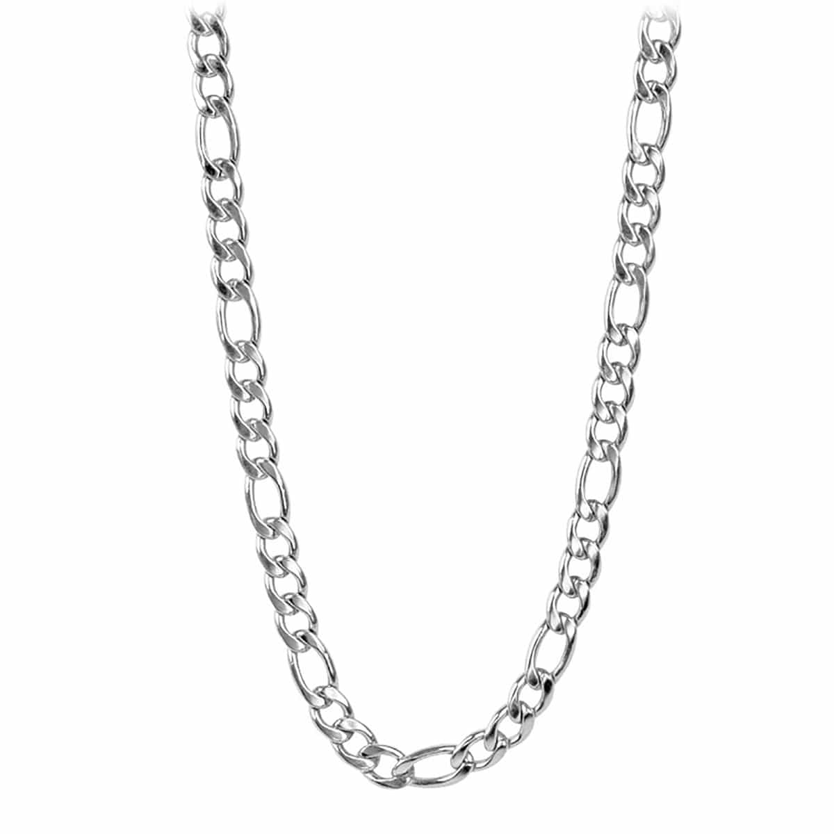 Silver Stainless Steel Polished 9mm Classic Figaro Chain Chains
