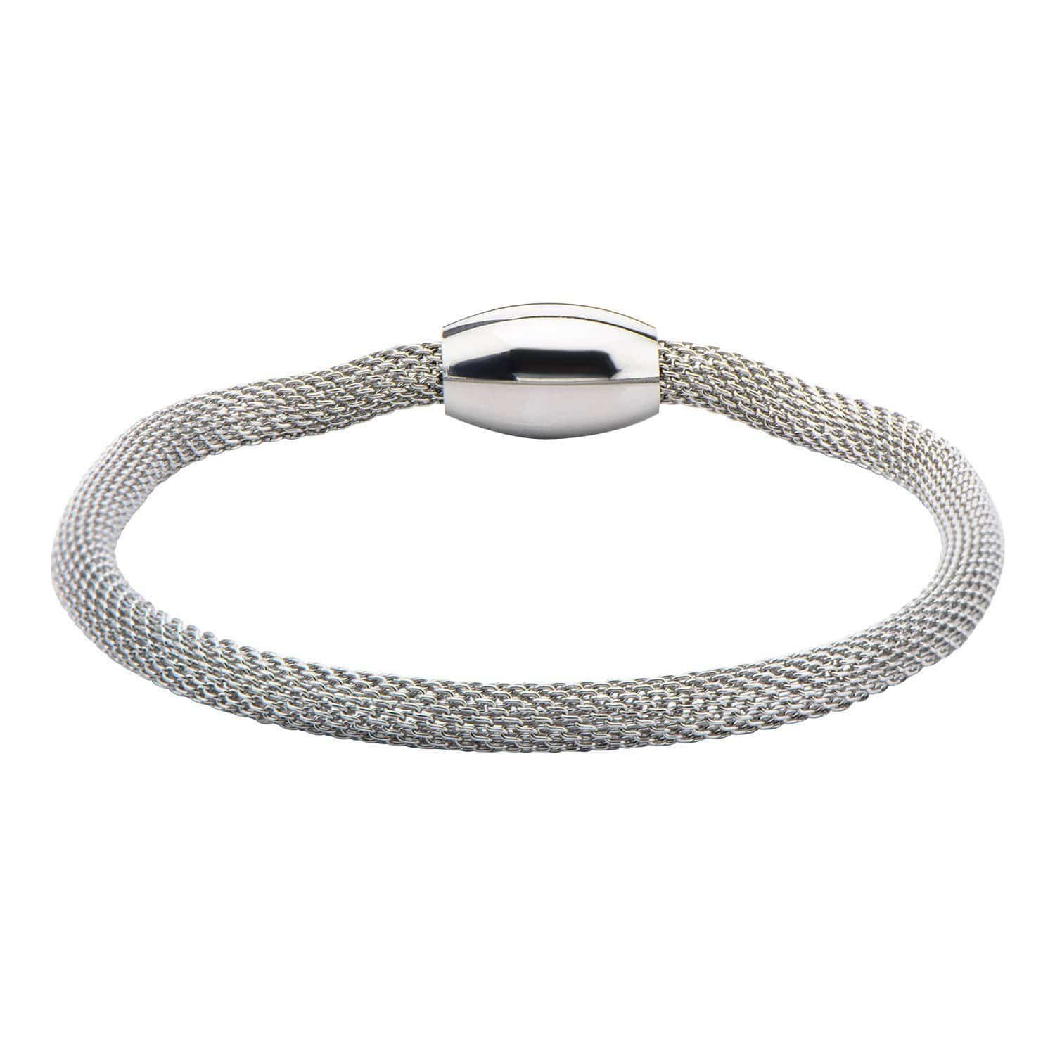 Silver Stainless Steel Polished Mesh Bracelet with Magnetic Closure Bracelets
