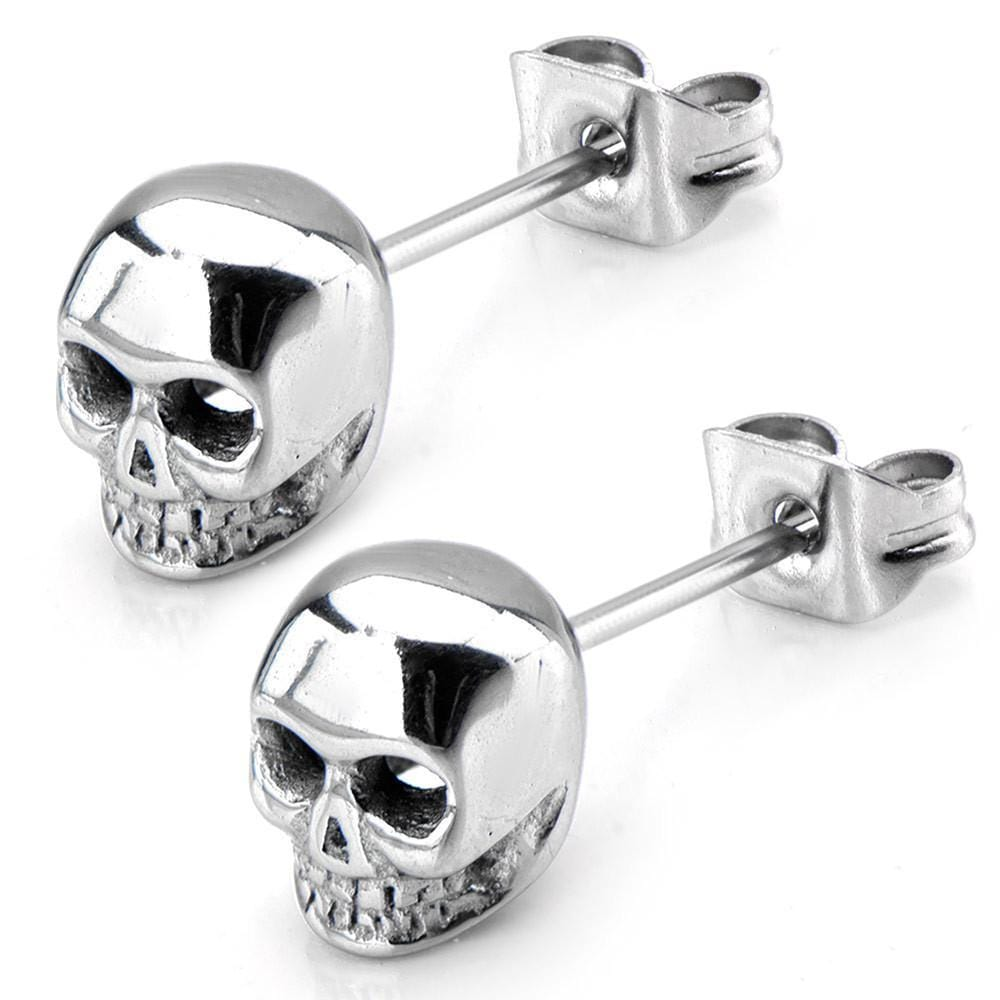Silver Stainless Steel Polished Skull Studs Earrings