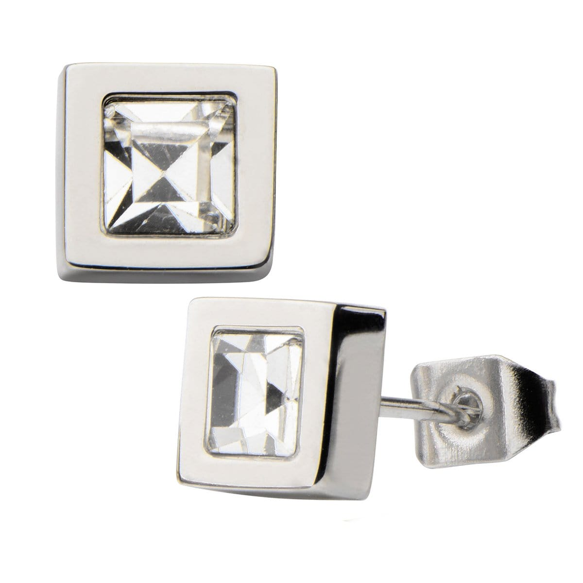 Silver Stainless Steel Princess Cut Crystal Square Studs Earrings