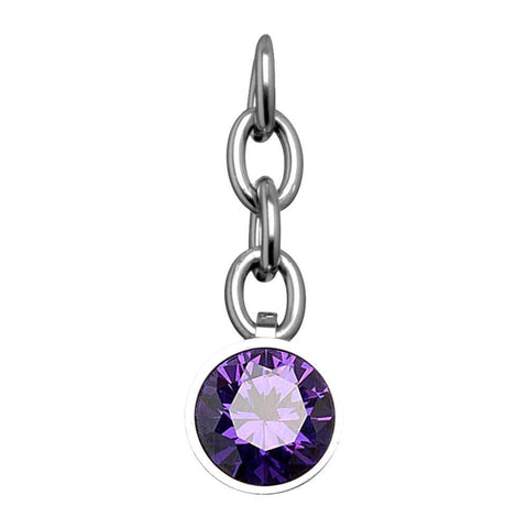 Silver Stainless Steel Purple CZ Charm Pendant Accessories