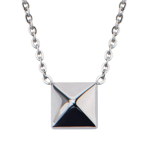 Silver Stainless Steel Pyramid Pendant with Attached 18-inch Adjustable Chain Pendants