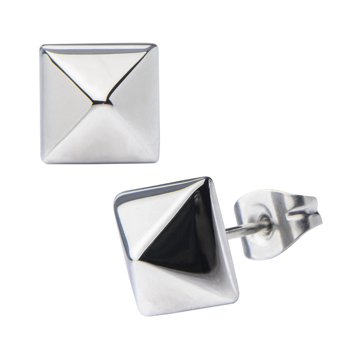 Silver Stainless Steel Pyramid Studs Earrings