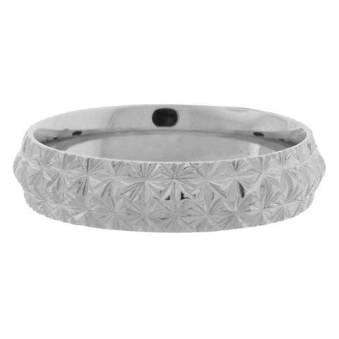 Silver Stainless Steel Raised Diamond Pattern Band Rings