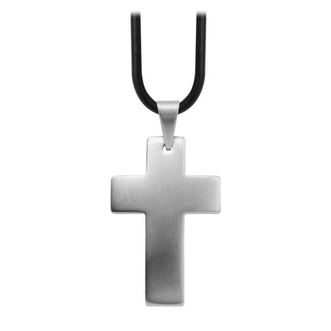 Silver Stainless Steel Raised Matte Religious Cross Pendant Pendants