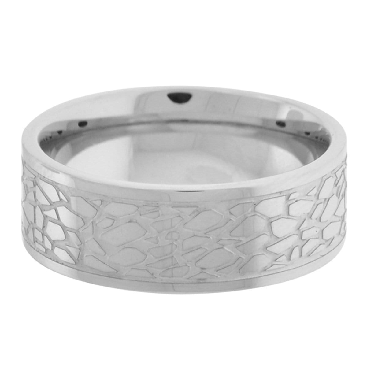 Silver Stainless Steel Raised Pebble Pattern Ring