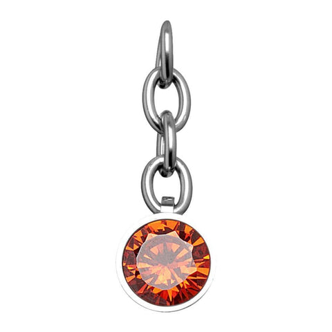 Silver Stainless Steel Red CZ Charm Pendant Accessories